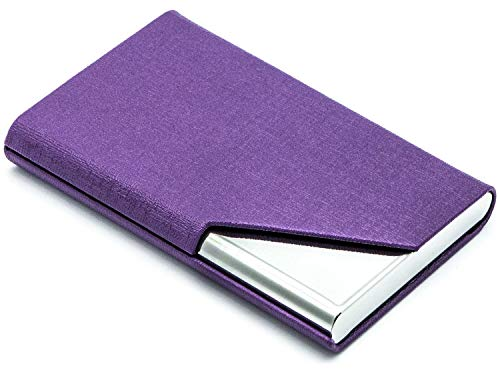 MaxGear Business Card Holder Leather Business Card Case Name Card Holder Business Card Wallet Business Card Carrier Slim Metal Pocket Card Holder - Purple