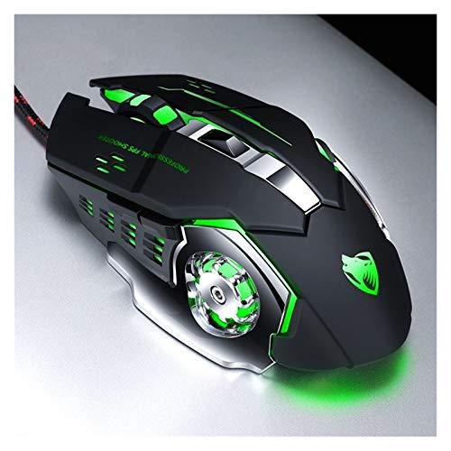 Profesión Gamer Mouse 8D 3200DPI Ajustable Cableado De 7 Colores LED LED Ratones USB Cable Mouse Silencioso para PC Laptop (Color : V6 Black)