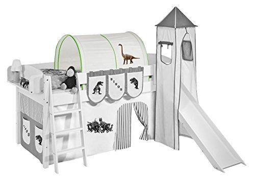 Lilokids Tunnel Dinos Grün Beige - für Hochbett, Spielbett und Etagenbett