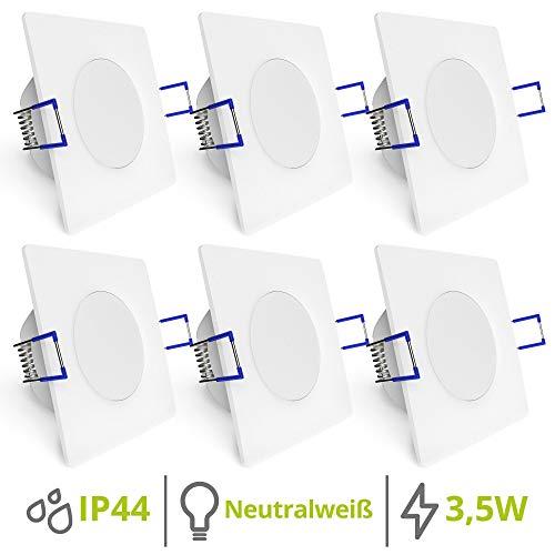 linovum WEEVO 6er Set quadratische Deckenspots - 3,5W neutralweiß 230V für Bad & Außenbereich IP44 sehr flacher Einbau 29 mm
