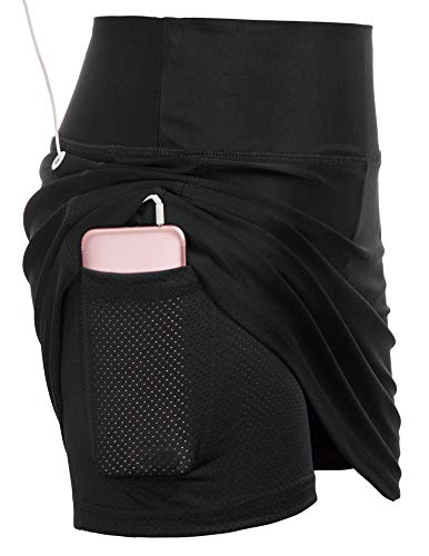 Women's Long Running Skirt Athletic Golf Skort Tennis Ball Pockets Built in Shorts (M,Black)