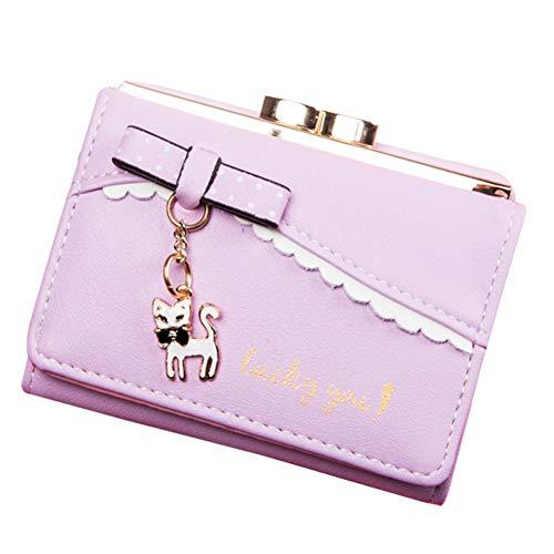 SKYXIU Lindo monedero de la moda de la cartera impermeable de la cartera bolsos de embrague pequeña cartera de cuero de la PU tarjeta de monedero corto, Purple, 1,