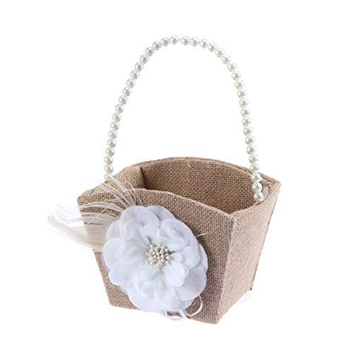 nobranded 1 Stück Hochzeitsblumenkorb Rustikale Sackleinen Bowknot Spitze Rose Hochzeit Blumenmädchen Korb Perlengriff für Vintage Rustikale Hochzeitszeremonie