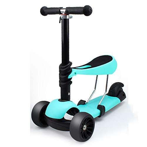 WFSH Scooter Infantil, Scooter Ajustable en Altura con Asiento Plegable, Scooter de luz para niños de 3 años y Juguetes al Aire Libre Grandes para niños de 3 a 14 años
