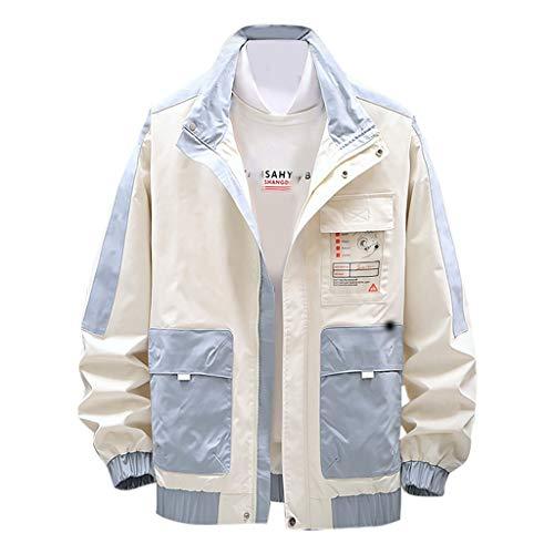 MAYOGO Herren Übergangsjacke Dünn Full Zip Herrenjacke Jacken Cardigan College Jacke Regenjacke Sweatjacke Streetwear (Beige, XXXL)
