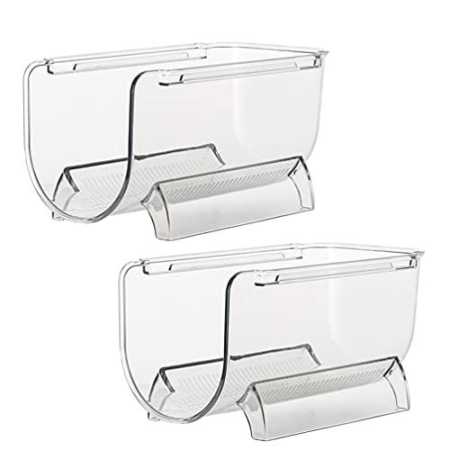 Cabilock 2 raquetas de plástico apilables para botellas de agua, transparentes, verticales, organizadores, para cocina, encimeras, despensas, frigoríficos.