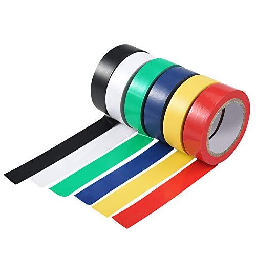 6 rotoli Nastro adesivo isolante, 16 mm nastro isolante colorato in PVC, assortiti 6 colori, lunghezza totale 60 m
