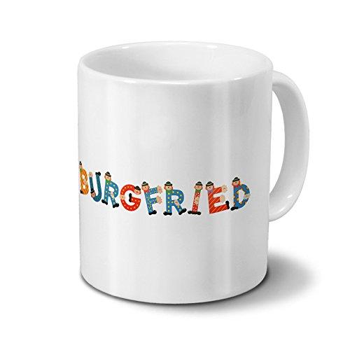 Tasse mit Namen Burgfried - Motiv Holzbuchstaben - Namenstasse, Kaffeebecher, Mug, Becher, Kaffeetasse - Farbe Weiß