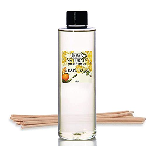 Urban Naturals Grapefruit Scented Oil Reed Diffuser Refill | Includes a Free Set of Reed Sticks! 4 oz.
