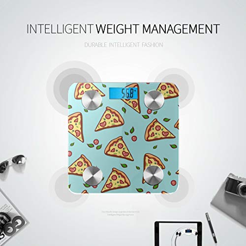 LRGUI Bluetooth Body Fat Scale Hand Draw Pizza Doodle Pizza Smart Wireless Scale with LCD Display Measuring Body Weight Bmi and Health Digital Scale Best