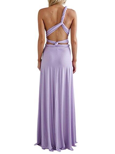 Clothink Women Light Purple Multiway Wedding Bridesmaid Maxi Long Dresses M