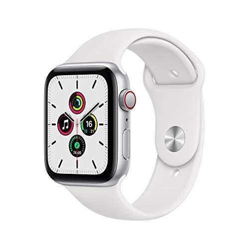 AppleWatchSE (GPS+ Cellular, 44 mm) Boîtier en aluminium argent, Bracelet Sport blanc