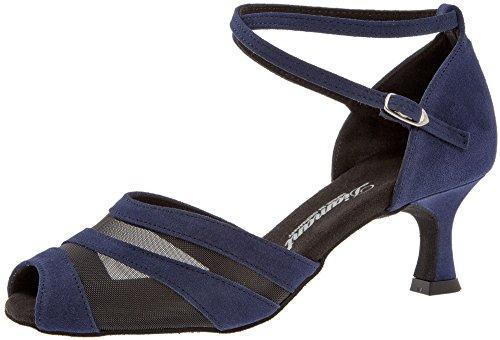 Diamant Damen Tanzschuhe 102-077-135 - Velourleder/Mesh Navy Blau - 5 cm Latino Flare Absatz [UK 2,5]