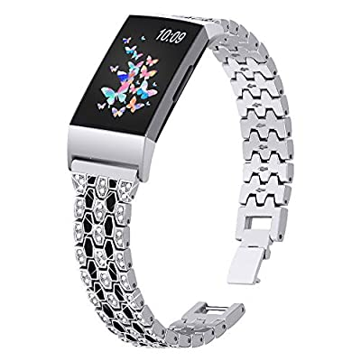 Joyozy Dressy Bling Bands Compatible with Fitbit Charge 4/Fitbit Charge 3/Fitbit Charge 3&4 SE Fitness Activities Tracker,Diamond Rhinestone Jewelry Metal Replacement Bracelet Straps for Women Girls
