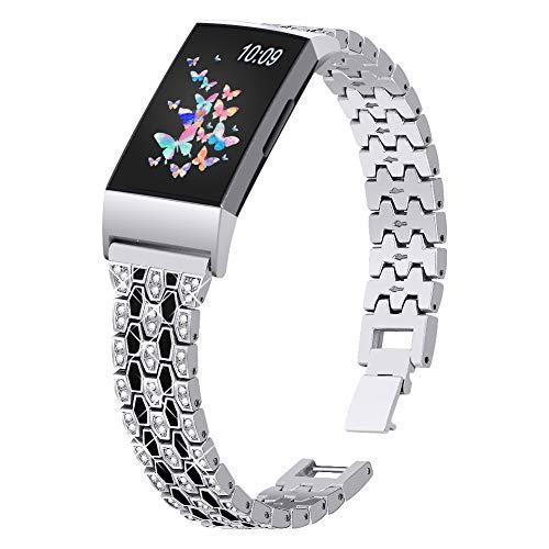 Joyozy Dressy Bling Bands Compatible with Fitbit Charge 4/Fitbit Charge 3/Fitbit Charge 3&4 SE Fitness Activities Tracker,Diamond Rhinestone Jewelry Metal Replacement Bracelet Straps for Women Girls