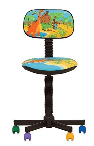 BAMBO- Silla de oficina infantil ergonómica, altura del asiento 42 cm-56 cm, altura del respaldo ajustable/asiento giratorio 360°/ruedas multicolor/negro