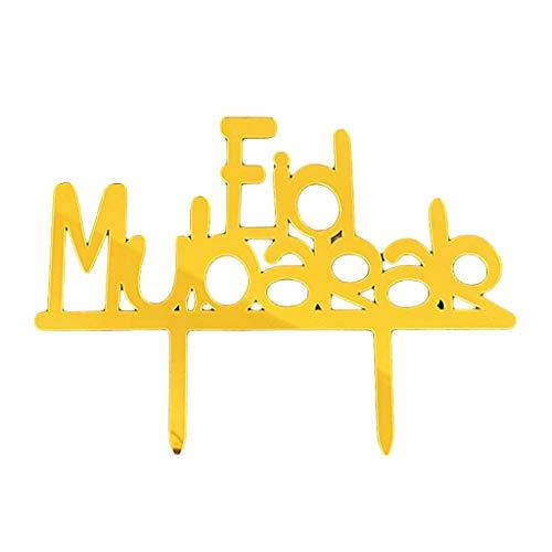 N/A/ 5 adornos para cupcakes Eid Mubarak con purpurina para festivales de Ramadán, fiesta musulmana islámica.
