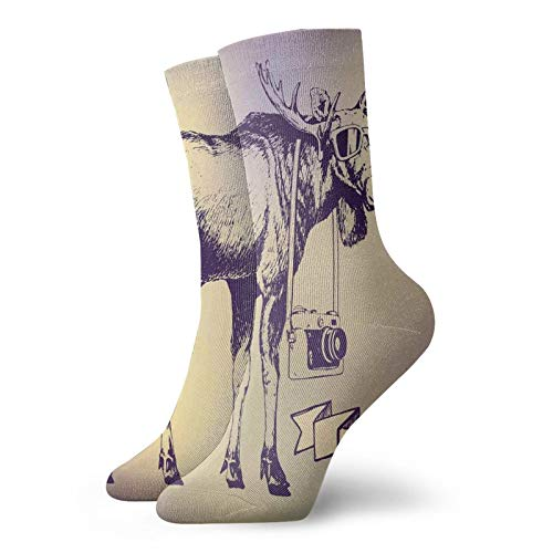 Compression High Socks-Hipster Deer With Shade Sunglasses And Camera Vintage Ombre Design Funny Animal Art,Socks Women and Men-Best for Running,Athletic,Hiking,Travel,Flight