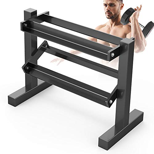 Dripex 2 Tier Heavy Duty Dumbbell Rack Home Gym Weight Rack Storage Stand, Weight Sets/Kettlebell/Weight Plates/Holder, Latest Model(Rack Only)