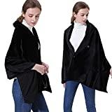WSXZ Cordless Blanket Shawl Battery Operated, Blanket Pad for Neck and Shoulders with Auto Shutoff, Heated Cape Soft Flannel Lap Blanket - Washable 168x65cm