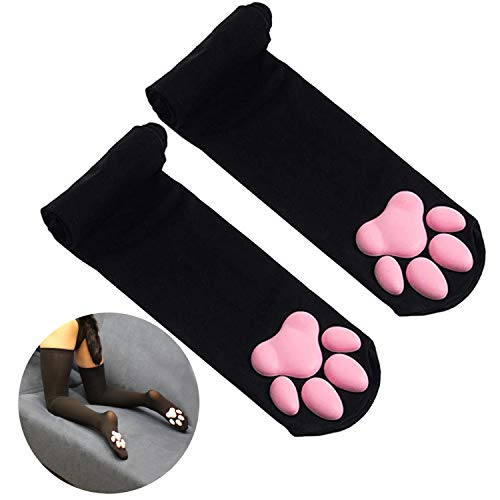 DoreenAbe Thigh High Socks Cute Pink Cat Paw Pad Socks Overknee Warm Socks for Women Kitten Stocking (Black-pink)