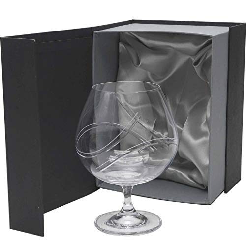 la galaica | - Set de 1 Copa de Coñac Brandy o Licor Tallada a Mano | Copa para Regalar en Aniversarios Bodas o Días Especiales | Empaquetado para Regalo | Colección Ángela