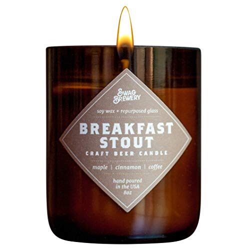 Breakfast Stout Brew Candle - Hand Poured in USA (Soy Wax) - Great Gift for Beer Lovers - for The Man Cave, Brewery, or Home (Made from Recycled Beer Bottles)