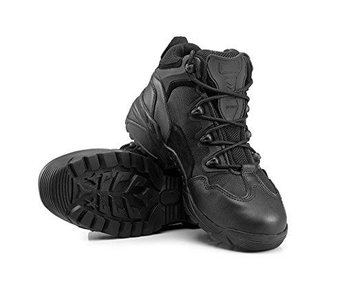 [MIAOW] 本革 タクティカルブーツ メンズ 軍靴 ミリタリーブーツ アウトドア シューズ 防水 防滑 通気性 レースアップ 米軍 特殊部隊 黒 44