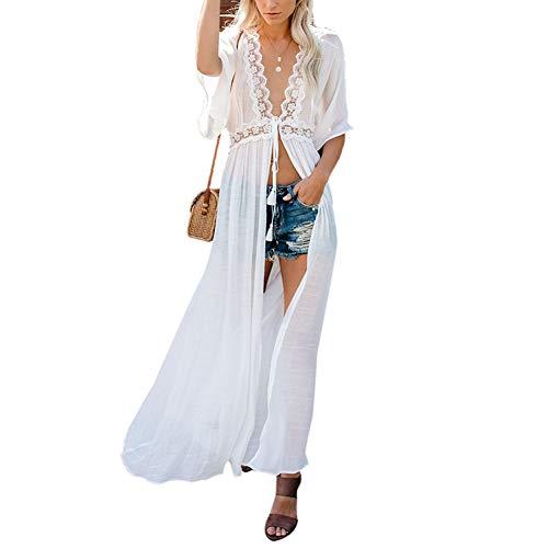 chuangminghangqi. Copricostume Donna Mare Vestiti Lungo Copricostumi Costume da Bagno Kaftano Kimono Cardigan Abito da Mare Spiaggia Veste Casual Copribikini Cover ups (7027-bianco)