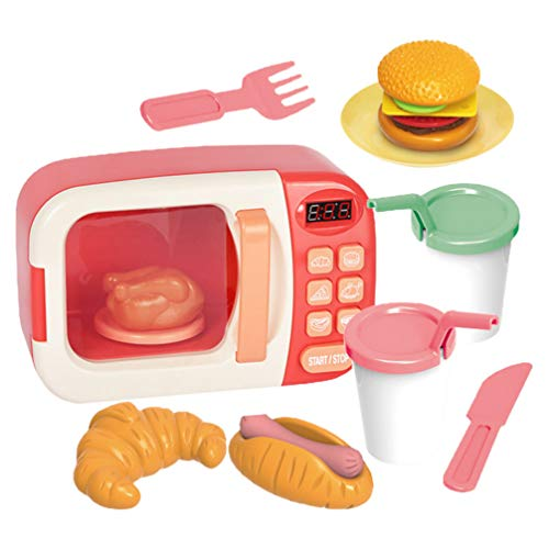 Balacoo Casa de Muñecas Horno de Microondas Kit de Juguete Divertido Niños Horno de Microondas Modelo Juguetes Microondas Juego de Cocina Conjunto de Alimentos de Juguete para Niños
