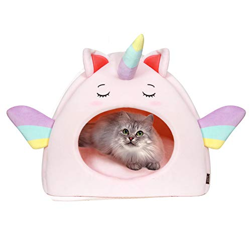All Fur You Unicorn Style Cat Cave Bed, Cat House for Indoor Cats Cubby Cat Hideaway Dome Bed Cat Tent Pod Igloo Pet Cave Cat Home Pet Cubes Felt Warm Cozy Caves Cat Hut Covered Beds Puppy Houses