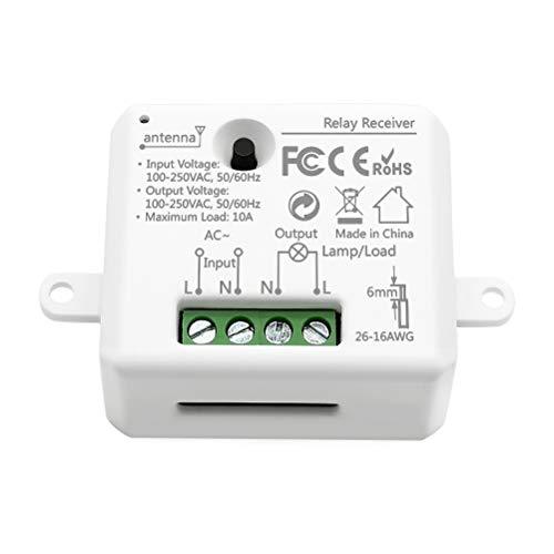 LoraTap 868MHz Receptor de kit de Interruptor Inalámbricas para Luz Lámpara Techo Ventilador Electrodomésticos, 5 Años de Garantía (Solo el Receptor de Relevo)