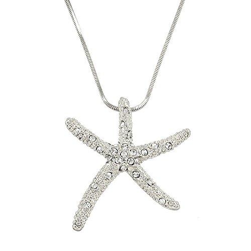 Falari Starfish Pendant Necklace Rhinestone Crystal Rhodium High Polished J0543-SCL