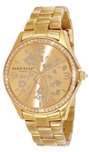 Naf Naf N10024G-102 - Reloj analógico para Mujer de Acero Inoxidable Resistente al Agua Dorado