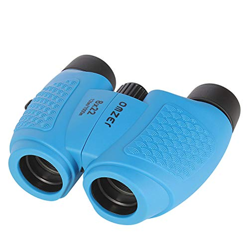 OMZER Kids Binoculars with High Resolution 8x22 Real Optic Toy Gifts for 3-9 Year Old Boys Girls, Compact Binocular for Bird Watching Travel Best Birthday Presents to 4 5 6 7 8 Years Old Child, Blue