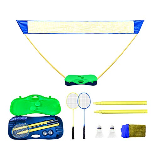 Badminton Net, MKTOK Badminton Set with Storage Base, Easy Setup Portable Badminton Sets with 2 Rackets & 2 Shuttlecocks for Backyards Indoor & Outdoor, No Tools or Stakes Required