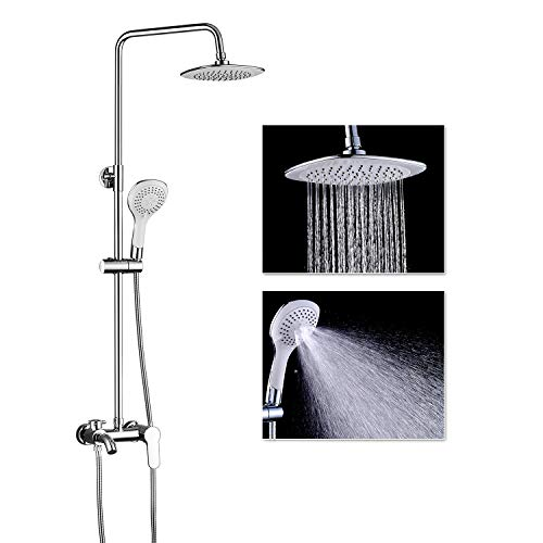 ROVOGO Bathroom Shower System Set with Brass Mixer Valve Faucet, 8-inch Rain Showerhead + 5 Functions Hand Shower + Faucet Tub Spout + Adjustable Slide Bar, Wall Mount, Chrome