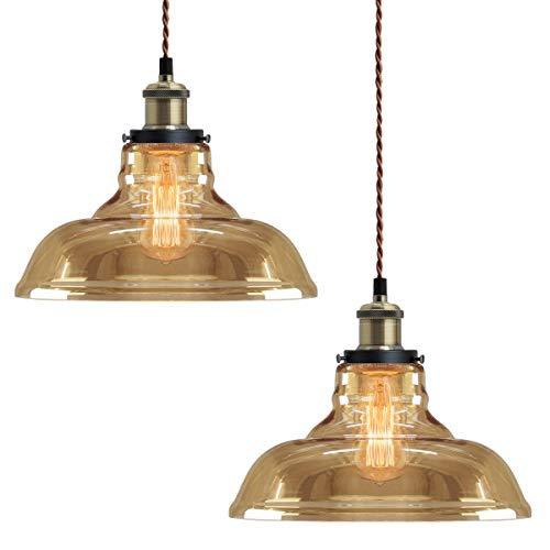 2 x Modern Loft Industrial Glass Bowl Pendant Light Shade Smoked Antique Brass Retro Vintage Ceiling Lighting 83