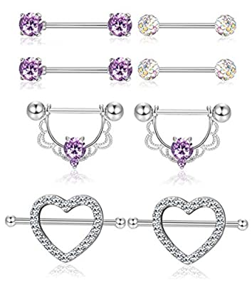 ORAZIO 4 Pairs 14G Stainless Steel Nipplerings Nipple Tongue Rings CZ Opal Barbell Body Piercing Jewelry (D:4 Pairs Purple)