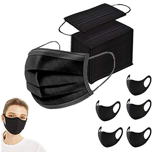100 Stück 3-lagig Mundschutz Maske Schutzmaske + 5 Stück schwarz Mund und Nasenschutz Waschbar Staubschutzmaske Wiederverwendbar Atmungsaktiv Mundschutz Winddicht Unisex Halstuch