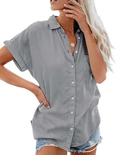 Minetom Damen Bluse Sommer Shirt Kurzarm Hemd Tops Oberteile Frauen Hemdbluse Elegant T-Shirt Baumwolle Lässige Mode Button V-Ausschnitt Einfarbig Grau DE 38