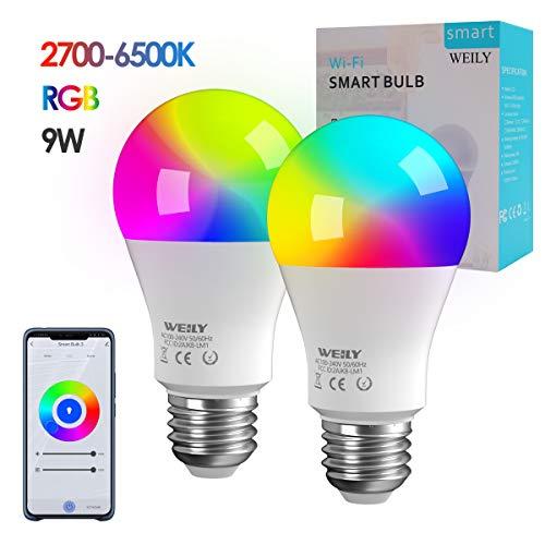 Bombilla LED inteligente WiFi, WEILY 9W LED 1600 Million RGB...