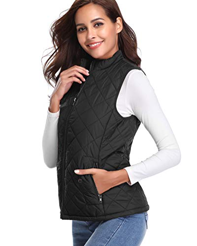 Fashion Shopping fuinloth Women's Padded Vest, Stand Collar Lightweight