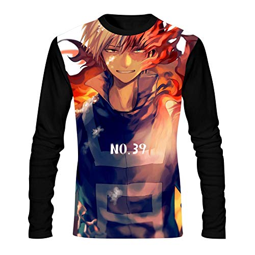 My Hero A-CA-demia Fire Mens T-Shirts Long Sleeve Tees Fashion Comfortable Tops Black