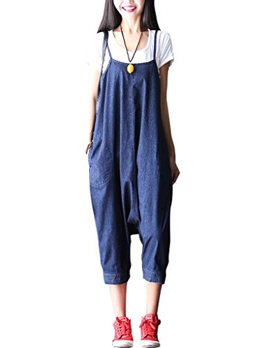 Youlee Youlee Damen Sommer Breites Bein Hose Denim Latzhose Overall Hosen Style 31