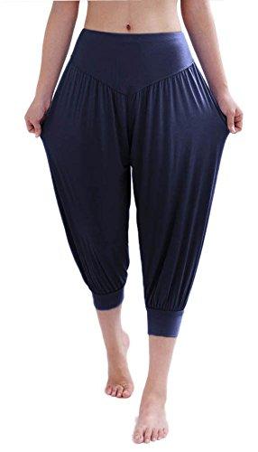 Hoerev - Pantaloni da pilates/yoga, super-morbidi, in spandex, a mezza gamba, stile harem, Donna, Marina Militare, 3XL