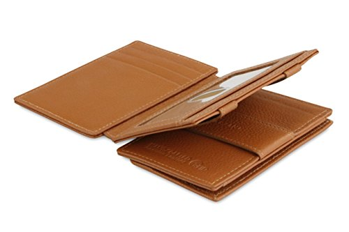 Garzini Magic Wallet, RFID Geldbeutel für Herren aus echtem Leder mit Platz für 11 Karten und Münzfach, Mini Geldbörse als Geschenk für Männer, mit Ausweisfenster, Cognac Brown