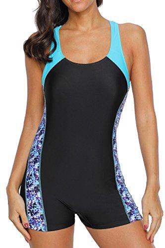 beautyin Women's One Piece Swimsuit Sport Racerback Bathing Suits Boyleg XL Black-Blue