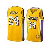 DDOYY New Lakers # 24 Kobe Bryant's New Jersey bordado, camiseta de baloncesto para hombre, chaleco deportivo espacioso y cómodo S-2XL, Amarillo1, S