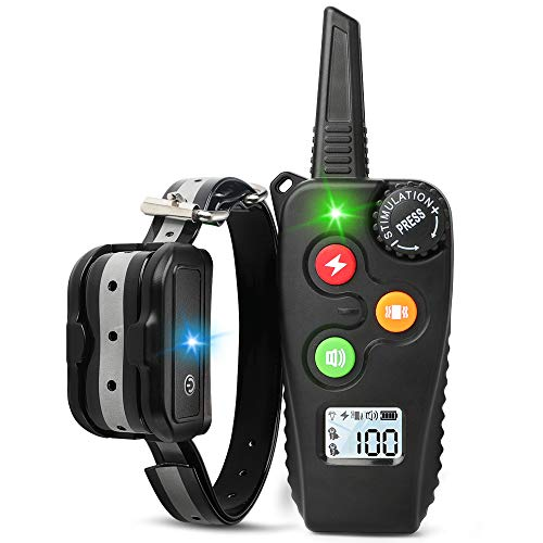 rabbitgoo Shock Collar for Dogs with Remote, Dog Training Collar with 3 Modes Beep, Vibration, Shock, Waterproof Rechargeable Remote Electric Collar, Adjustable 100-Level for Large Medium Small Dogs